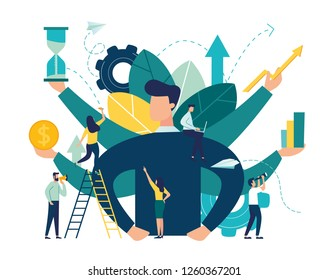 Vector illustration, virtual business assistant. card investment management. graphic design of mobile assistant, moving up, investing money in a project - Vector