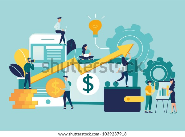 vector illustration of virtual business assistant. flat icon on smartphone is merged all accounts, money, cards investment management. graphic design business vector, mobile banking