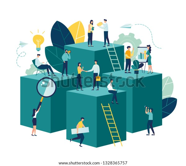 Vector illustration, virtual business assistant. teamwork on performance, brainstorming, card investment management. investing money in a project - vector - vector
