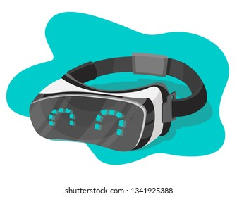 Vector illustration of a virtual reality headset with happy eyes