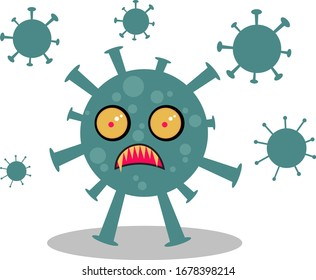 Vector illustration of a virus bacterial monster