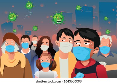 A vector illustration of Virus Epidemic Attacking People Wearing Masks