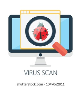 """Vector illustration of virus scan software & security or protection concept - internet technology. """" web design """" malware search. antivirus scanning. firewall"""