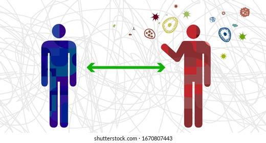 vector illustration of viruses and people keeping distance for infection risk and disease prevention measures