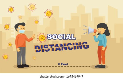 vector illustration of viruses and people keeping distance for infection risk and disease prevention measures. Social Distancing