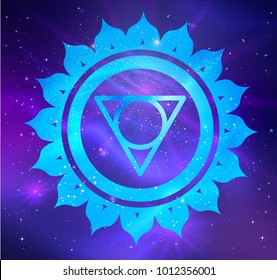 Vector illustration of Vishuddha chakra on outer space ultraviolet background.