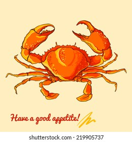 Vector illustration of vivid red crab.