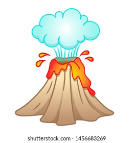 Vector illustration of a volcano with erupting lava and a cloud of smoke and ash. Dangerous natural phenomenon