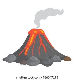 Vector illustration of volcano erupting and lava flowing down its sides