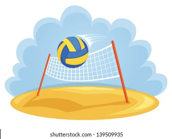 Vector illustration of volleyball net and ball