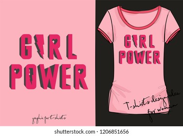 Vector illustration of volume 3D lettering Girl Power with lightning, heart shaped letters isolated on pink background, fashion old school print for t shirt, retro 80th, 90th style