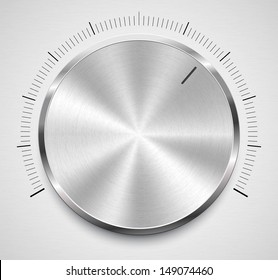 Vector illustration of volume knob with steel texture