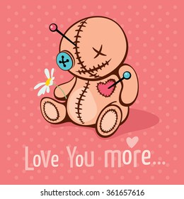 Vector illustration with voodoo doll in unrequited love. Cute Valentine's card.