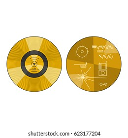 Vector illustration of the voyager golden record back side with explanation on white background. Space and solar system topic.