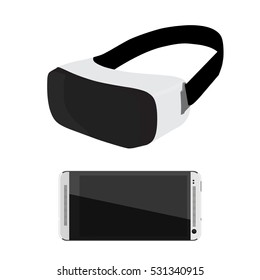 Vector illustration VR glasses for smartphone. Virtual reality box for smartphone. VR box icon. VR headset icon.