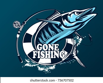Vector Illustration of a wahoo , Acanthocybium solandri, a scombrid fish jumping up viewed from the side set on isolated white background done in retro style.