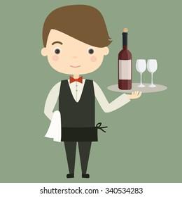 Vector illustration of waiter man