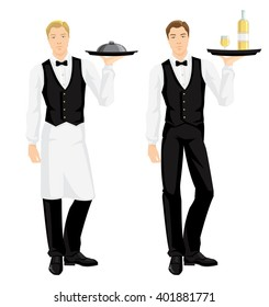 Vector illustration of waiter in uniform with tray isolated on white background.