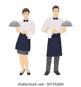 Vector illustration of a waitress and waiter in formal dress on a white background.