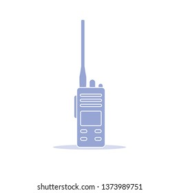 Vector illustration with walkie talkie. Portable radio, communications and security. Mobile transceiver.