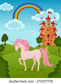 Vector illustration of walking beautiful unicorn with raised leg on the fairytale summer nature landscape with majestic rainbow, castle, meadow, trees, bush, clouds.