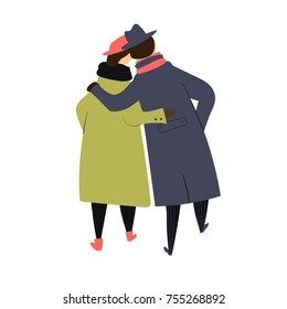 Vector illustration of walking old couple in coats from back. Isolated on white background. For romantic, love, age, anility, family theme symbol