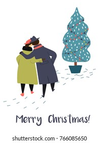 Vector illustration of walking old couple with Christmas tree