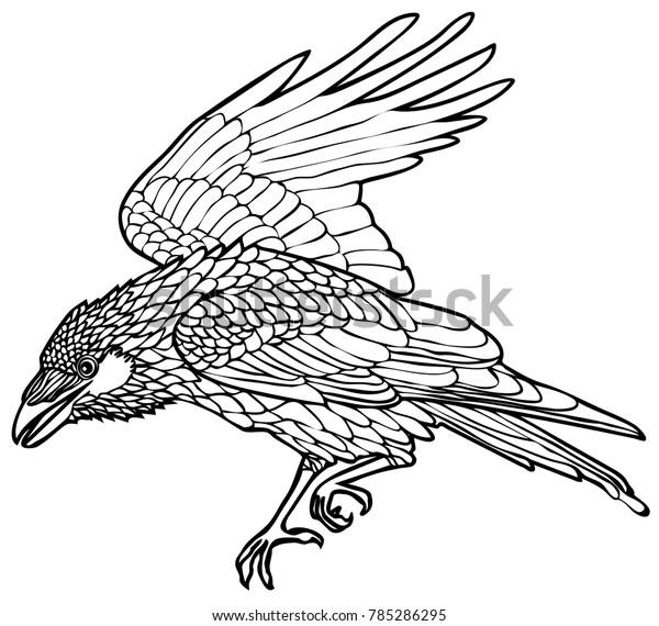 Vector Illustration Walking Raven Tattoo Design Stock Vector