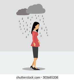 Vector illustration. Walking woman in depression in the rain