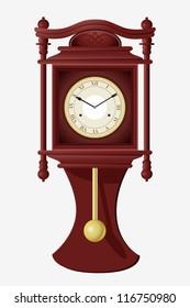 vector illustration of wall clock with pendulum
