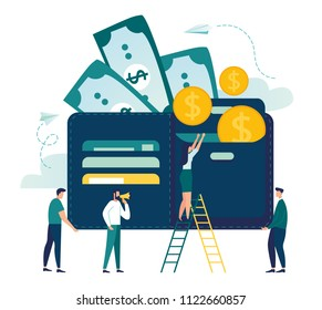 Vector illustration, wallet with money dollar bill, concept of online payments, open purse with coins