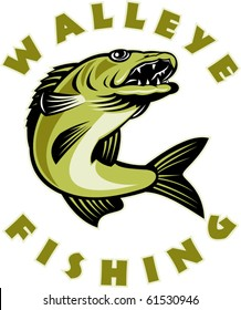 """vector illustration of a Walleye fish jumping isolated on white with words """" walleye Fishing"""""""
