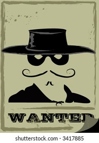 vector illustration of wanted man in mask and hat