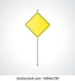 Vector illustration of warning sign, yellow