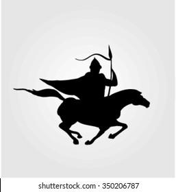 Vector illustration of a warrior on horseback. Bulgarian rider.