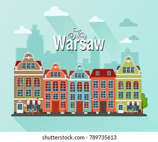 Vector illustration of Warsaw. Flat design. Old houses.