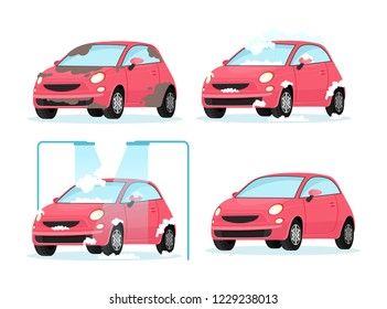 Vector illustration of washing dirty car process. Concept for car washing service on white background in flat cartoon style.
