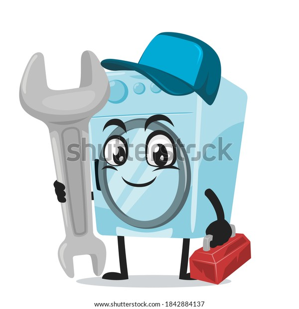 vector illustration of washing machine mascot or character wearing service costume and holding wrench