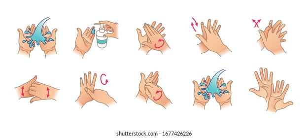 Vector illustration of washing your hands. Cleaning and disinfecting hands for your design