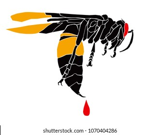 Vector illustration of a Wasp dripping poison from its sting.