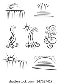 vector illustration of water falls and river icons or logos