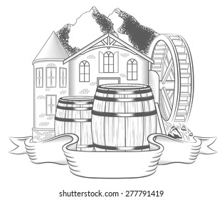 Vector illustration of water mill on a white background. Black and white Illustration old mill with waterwheel and label for your brand name - stock vector