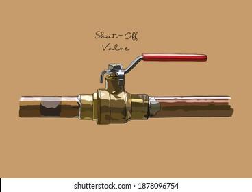 Vector Illustration of Water Shut Off, Shut Down Valve