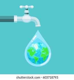 Vector illustration of water tap with the Earth globe inside water drop on blue background