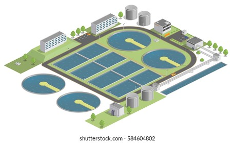 Vector illustration of a water treatment plant, swimming pool. Isometric factory. infographics. low poly.