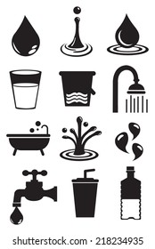 Vector illustration of water and its usages. Black and white isolated vector icon set.