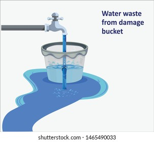 vector illustration of water wastage from damage bucket