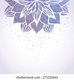 Vector illustration with watercolor blue violet flower pattern on white background. Floral ornament in oriental indian asian style. Vector element