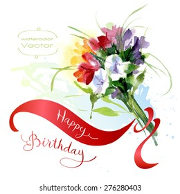 Vector Illustration Watercolor Bouquet Birthday Greeting
