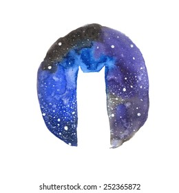 Vector Illustration. Watercolor Cat Galaxy